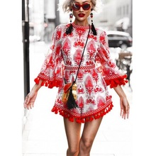 0ab0ececf2a 2018 Fashion Loose Boho Red and White Porcelain Print Tassel Embroidery  Overalls Jumpsuit Casual Loose Beach