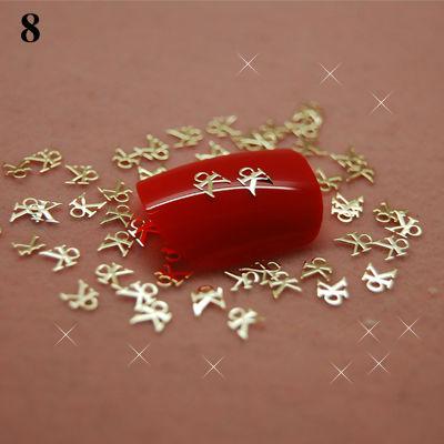 T8 800pcs Lot Gold Charm Brand Metal Nail Art Stickers Tips Decals