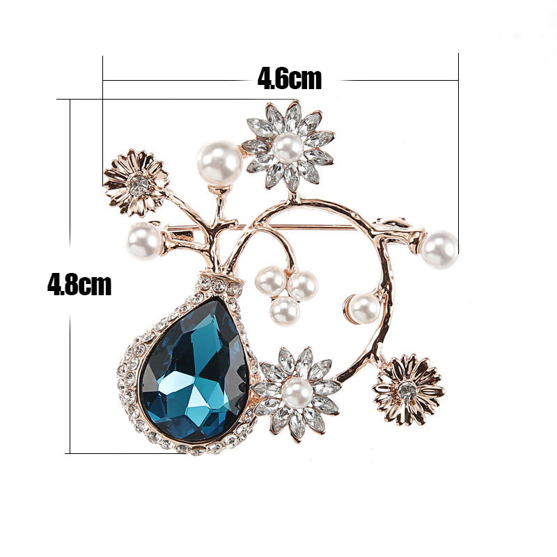TDQUEEN Crystal Flower Brooches and Pins for Women Silver Plated Metal Big Waterdrop Crystal Pearl Brooch for Wedding Invitation (7)
