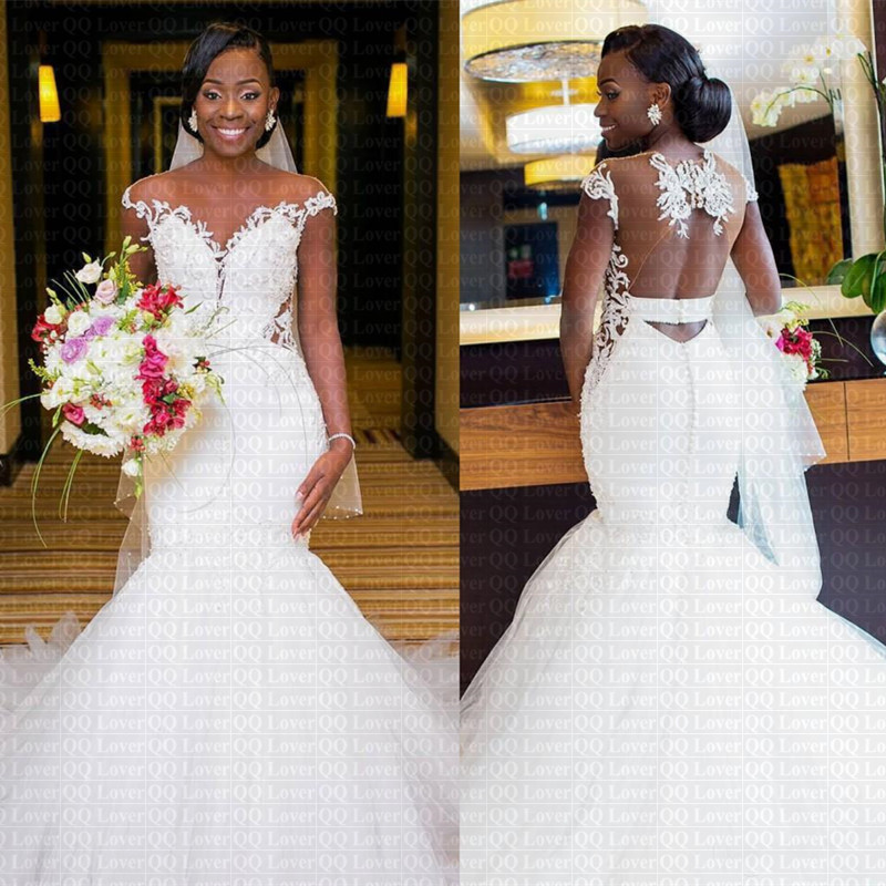 Mermaid Lace Wedding Gown: 2019 New Sexy Sheer Back African Mermaid Wedding Dress Cap