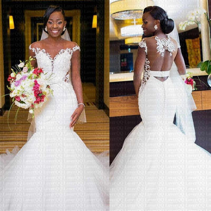 2019 חדש סקסי Sheer אפריקאית חזור בת ים שמלות כלה שווי שרוול תחרה כלה שמלות Vestido דה Novia