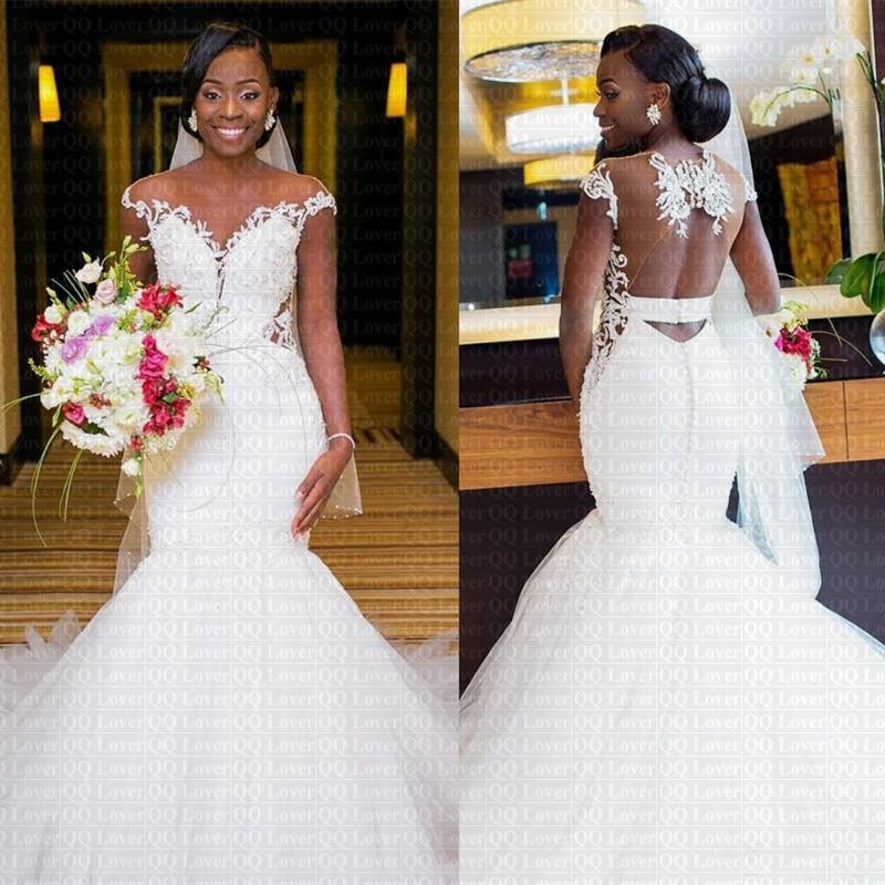 2020 New Sexy Sheer Back African Mermaid Wedding Dress Cap Sleeve Lace Bridal Gowns Vestido De Novia