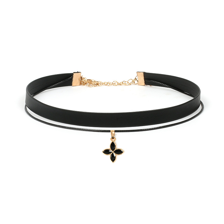 12pcs/lot velvet chain necklace Clover pendant Necklace Double-decker choker for wo men girl jewelry gift party