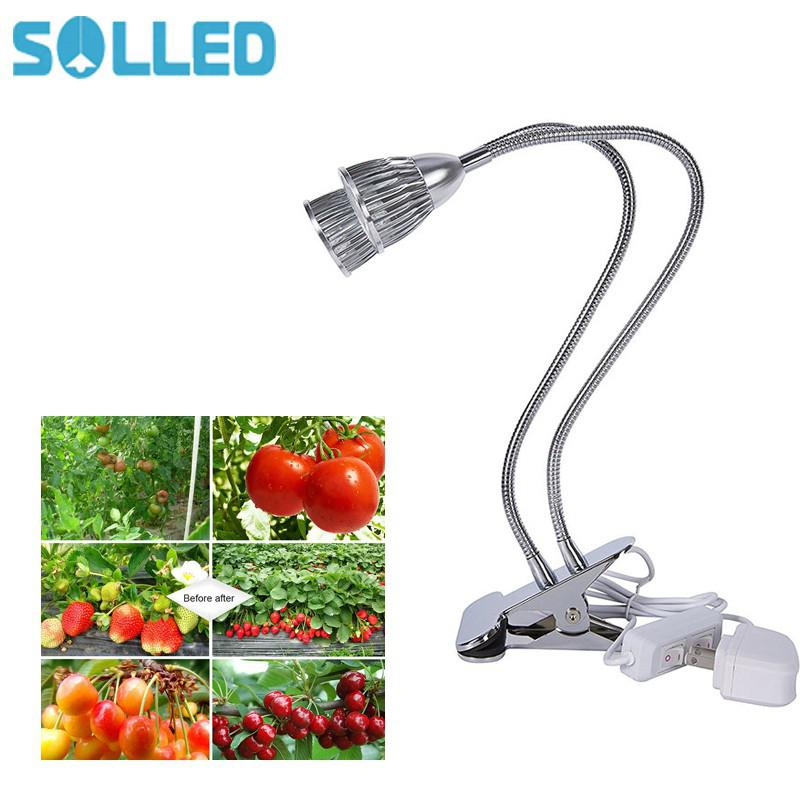 SOLLED 10W Dual Head LED Spectrum Plant Grow Light for Indoor Hydroponic Plant Cultivation