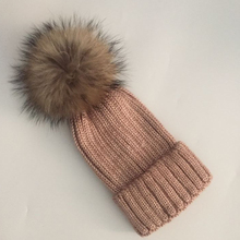 Fashion Real Fox Fur Pompoms 15cm Hats For Women Girl Winter Hat Solid Wool Acrylic Skullies Beanies Snapback  New Brand