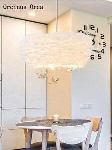 Image 3 - Iskandinav karikatür kristal kuş tüy avize çocuk odası yatak odası Modern basit rüya LED beyaz tüy avize