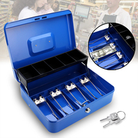 12 Inch Blue Portable Cash Box With Drawer Lockable Metal Money Box Coin Cash Piggy Bank Home Store Jewelry Safe 30x24x9cm