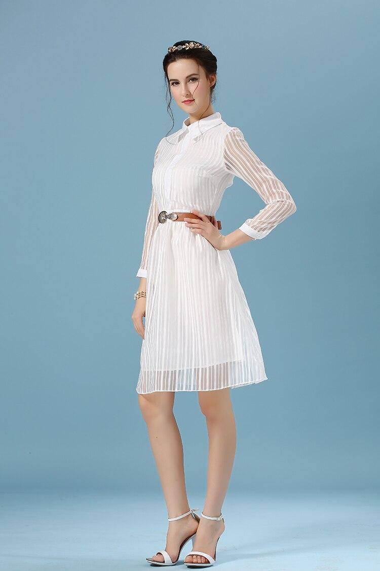 spring summer style casual women white dress Long sleeve 2015 stripe ...