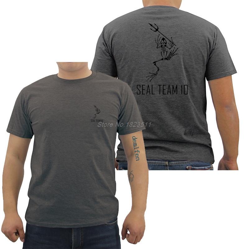 Fashion Cotton T-shirt Navy Seals Team 10 Skeleton Frog W/ Spear Printed  Front Back Men's T Shirt Cool Tees Tops Streetwear