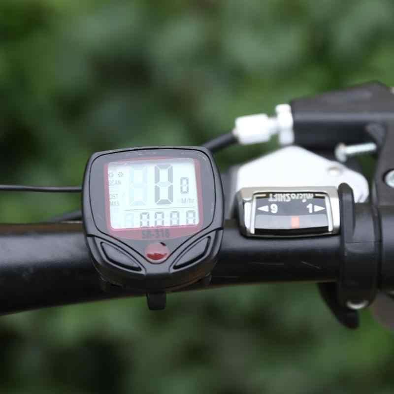 ¡Caliente! Ordenador de bicicleta a prueba de agua, medidor odómetro, velocímetro con pantalla LCD, Ordenador de ciclismo, velocímetro con cable y cronómetro