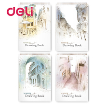 Deli 1pcs random artist sketchbook for drawing school spiral notebooks professional anime coil sketch books easel high quality