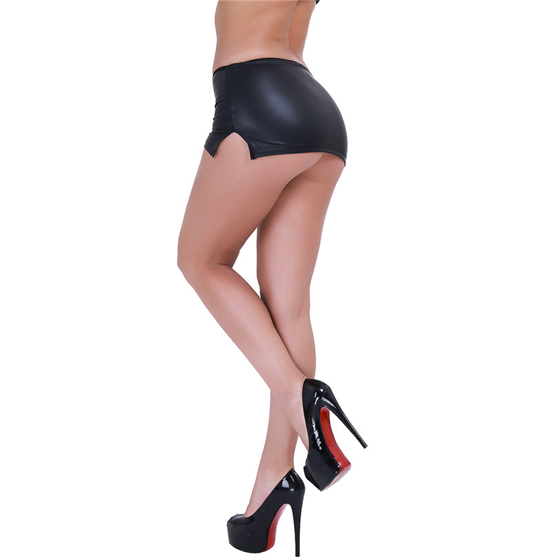 Sexy Women PU Faux Leather Micro Mini Skirt Tight Pencil Skirt Wet Look Club DS Dance Wear Skirt Fantasy Erotic Wear