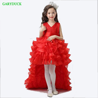 Clearance Flower Girl Dresses Red Chiffon Tailing Pageant Children Girl Summer Weddings Party Birthday Tutu Dress