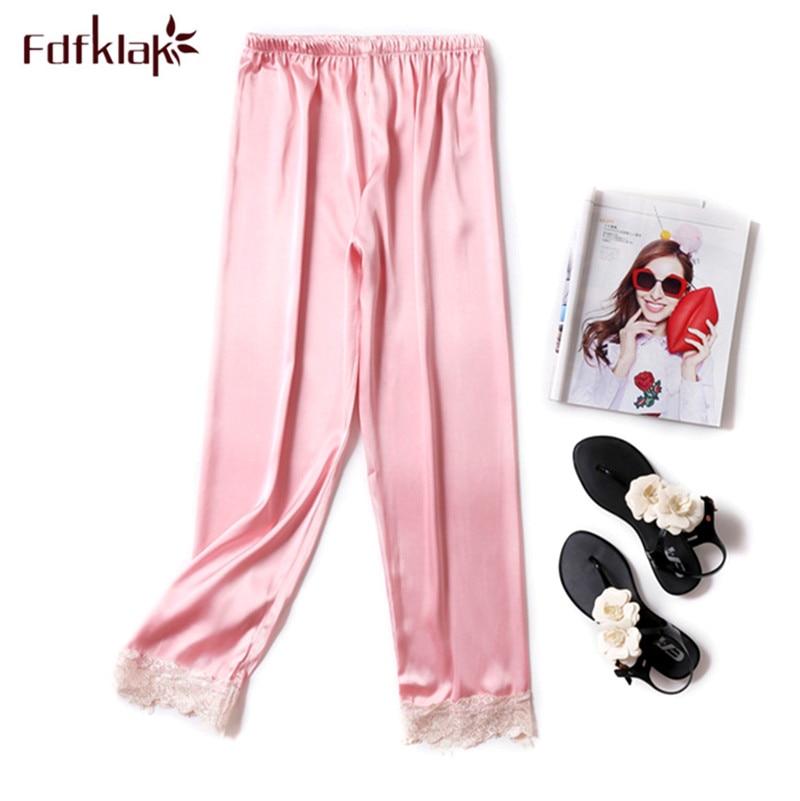 Ladies Lounge Pants Satin Nightdress Faux Silk Trouser Homewear Pajamas Bottoms