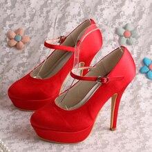 Wedopusรองเท้าแต่งงานสีแดงแพลตฟอร์มรองเท้าชุดสำหรับผู้หญิงซาตินปั๊มปิดDropship