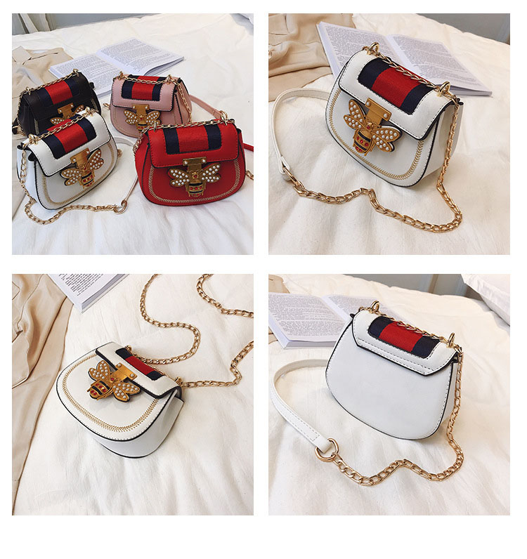 Imitation Designer Bags Fashion Bee Shoulder handbag for women Luxury Round PU Cross body Chain Bag Pearl Metal Lock Women's Bag (2)