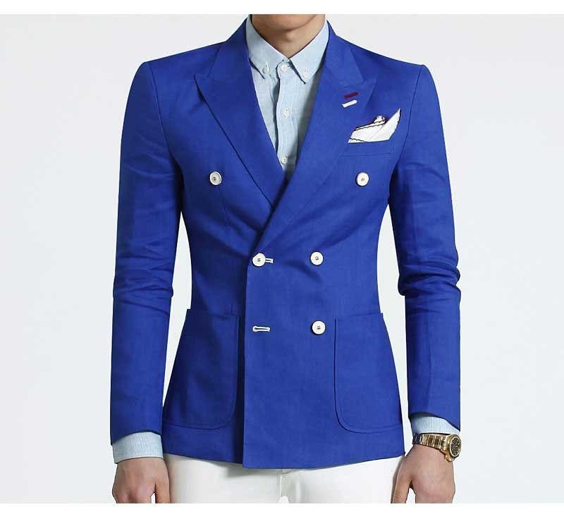 Blue Men suits ivory pant Wedding Smoking Dinner Evening Party Wear Queen Coat Blazer jacket pant