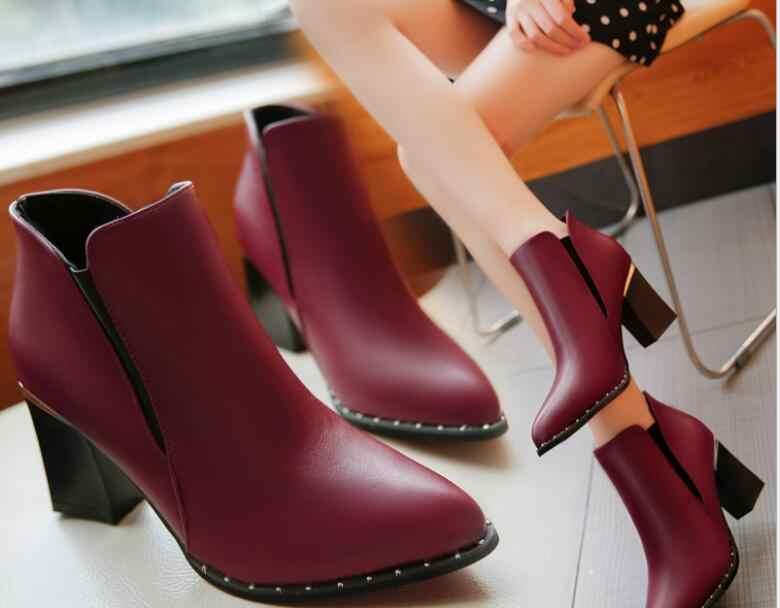Yeni Klasik moda Kadın yarım çizmeler Yüksek topuklu Ayakkabılar Sivri Ayak Gümüş Topuklu Pompaları sonbahar Kış Ayakkabı Bayan botları