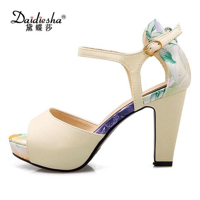 c08a9d81501761 Daidiesha 2018 Fashion Ladies Party Wear Shoes Print Women s Platform  Sandals Buckle Strap Footwear Peep Toe Girl s High Heels