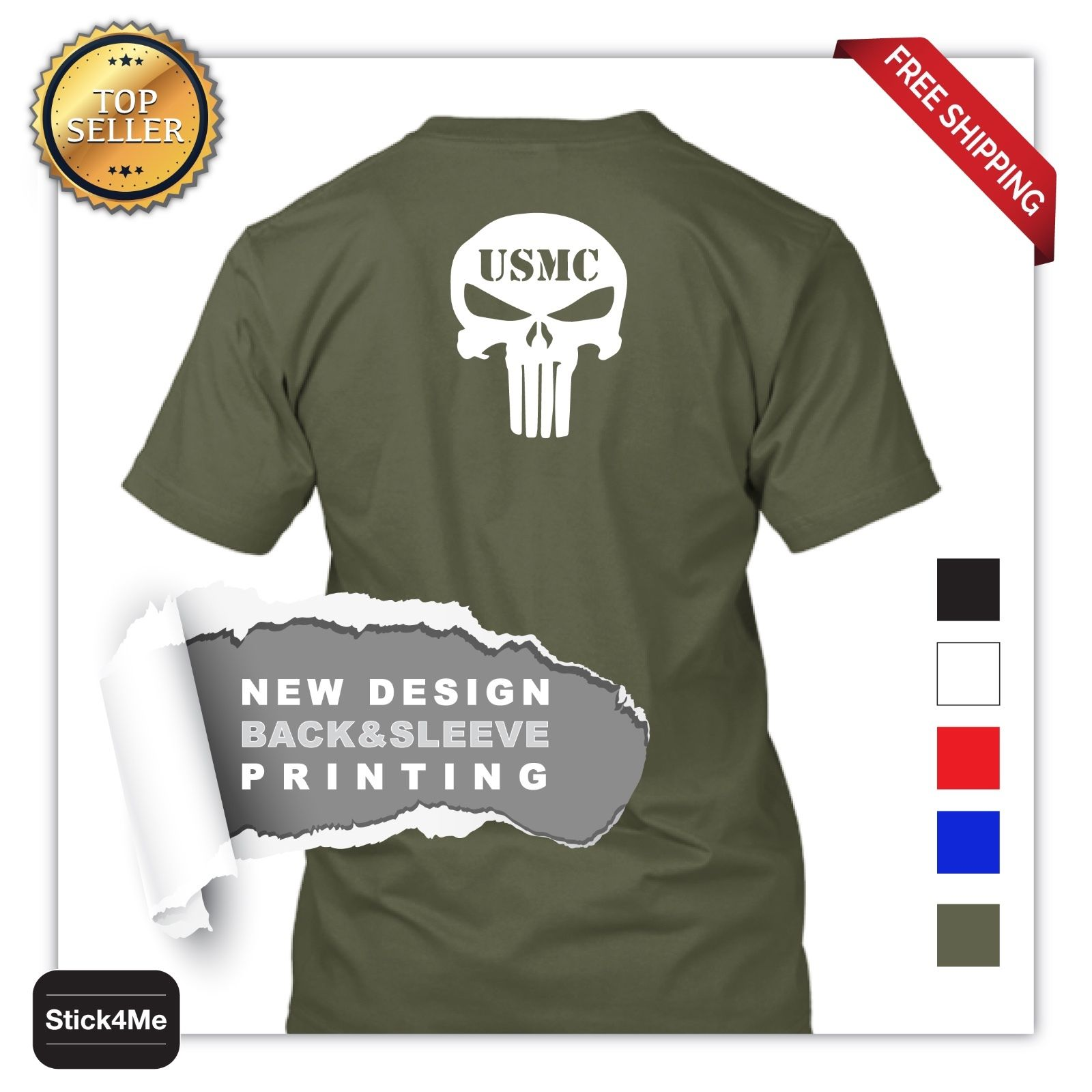 Free Shipping Summer Fashion NEW ARMY <font><b>USMC</b></font> <font><b>T</b></font> <font><b>SHIRT</b></font> 100% COTTON 5 COLORS BACK PRINT Summer Men Clothing image