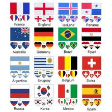 Football World Cup Waterproof Disposable National Flag Stickers for Children Football Audiences Countries Flag Sticker(China)