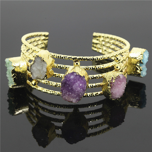 1PC 2017 New Style Fashion Quality Cuff Bangles&5pcs Mixed Color Druzy Drusy Agate Quartz Gem Stone Bangles Jewelry