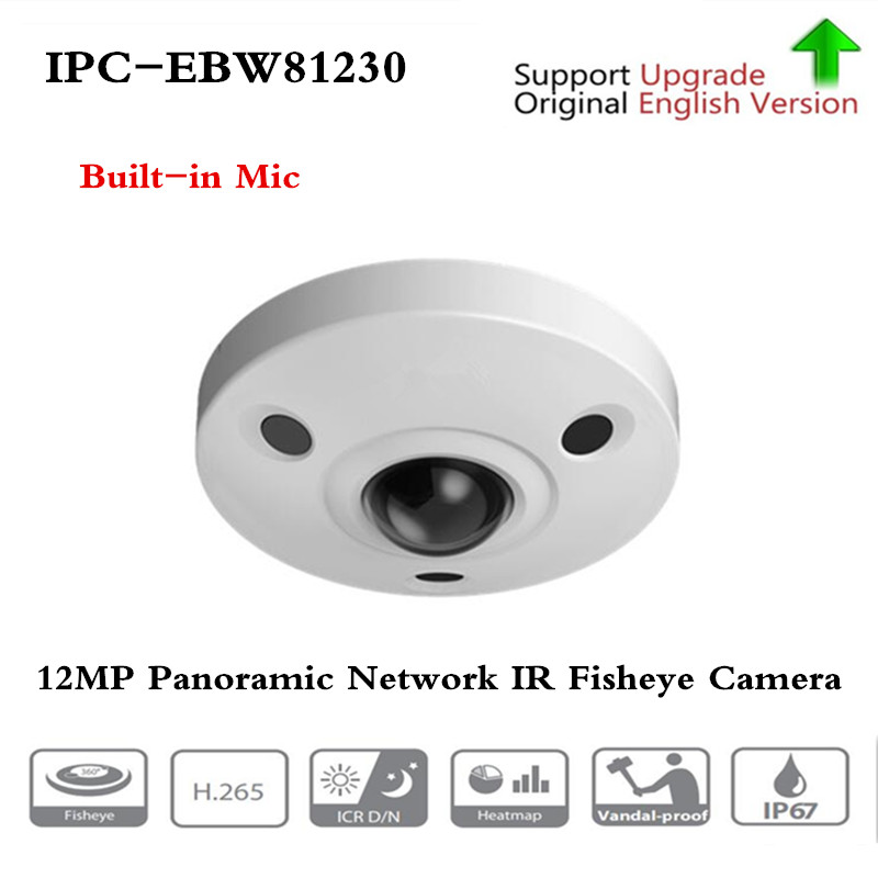 Original ahua IPC-EBW81230 12MP Panorâmica Fisheye Câmera IR Rede H.265/AWB AGC BLC H.264 3DNR IP67 IK10 PoE