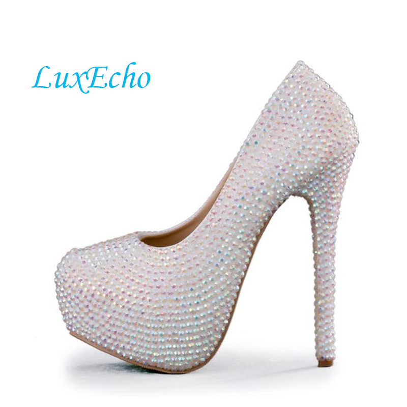 Sparkling rhinestone crystal shoes wedding shoes stunning diamond high-heeled bridal shoes big size 34-43 married shoes  luxurious ecru white bridal shoes crystal diamond 5cm low heeled shoes elegant imitation pearl wedding dress shoes