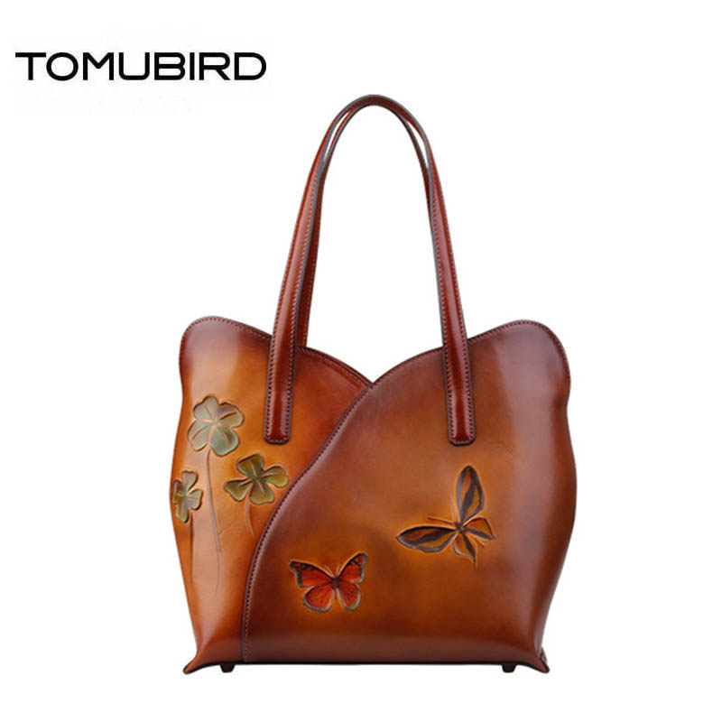 TOMUBIRD 2017 new superior leather Hand carved Flowers butterfly fashion famous brand women bag genuine leather handbags