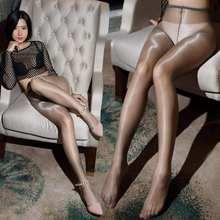 Ultra fino 1d sexy collants óleo brilhante aberto virilha meias para mulheres de cintura alta ver através de meia-calça brilho lisamente medias