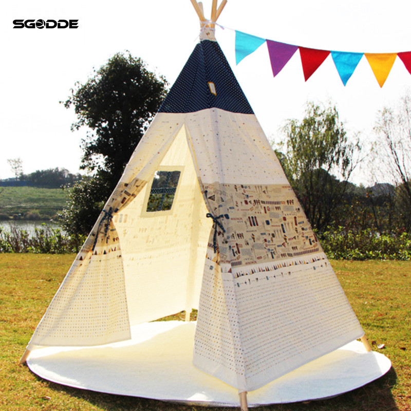 SGODDE Pet Tents Outdoor Wigwan Large Kids Play Tent Teepee Tipi Portable Folding Camping Outdoor Indoor Outdoor Puppies House canvas dog teepee pet tipi house without cushion 24