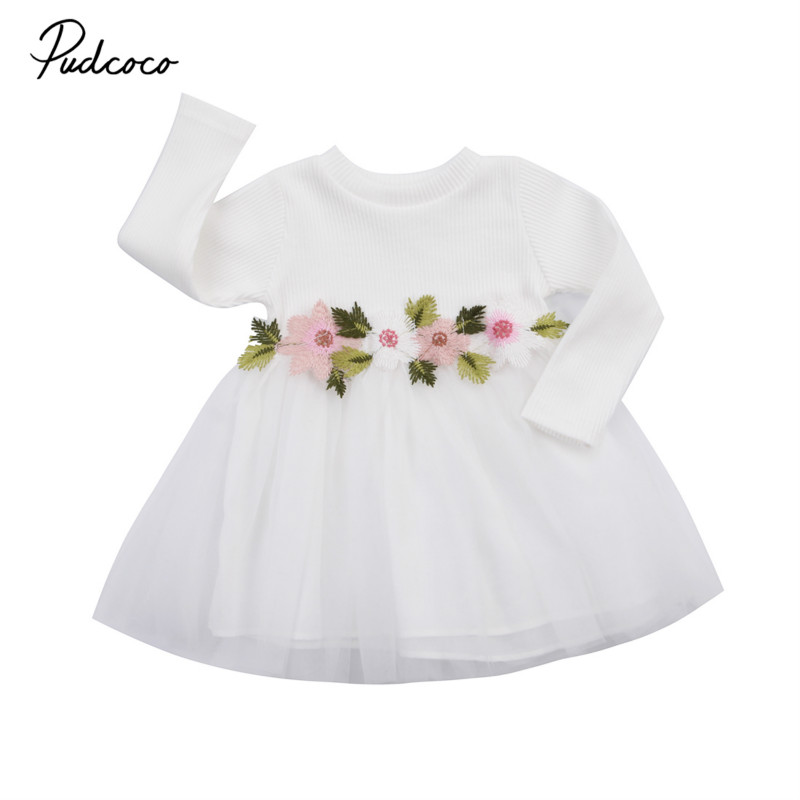Princess Baby Girls Kids Toddler Mini Long Sleeve Floral Tutu Dress Party Wedding Birthday Pageant Prom Dresses Sundress 0-3Y 2018 spring baby girl floral dress kids party wedding pageant formal long sleeve prom princess tutu lace mesh dresses girls