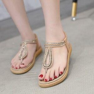Image 4 - TIMETANG/Летняя обувь; Женские пляжные вьетнамки в богемном стиле; Мягкие сандалии на плоской подошве; Женская Повседневная Удобная обувь; Большие размеры 35 42