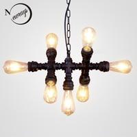 Лофт Промышленные Утюг водопровод стимпанк Винтаж подвесные лампы шнур E27 светодио дный 7 огни подвесные светильники для спальни Гостиная Б