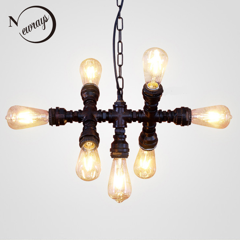 Loft industrial Iron water Pipe steam punk Vintage pendant lamp cord E27 led 7 lights pendant lights for bedroom living room bar цена