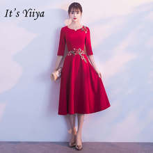 153c0372fa Es YiiYa vino rojo A-line Prom vestidos elegante bordado media manga o- cuello