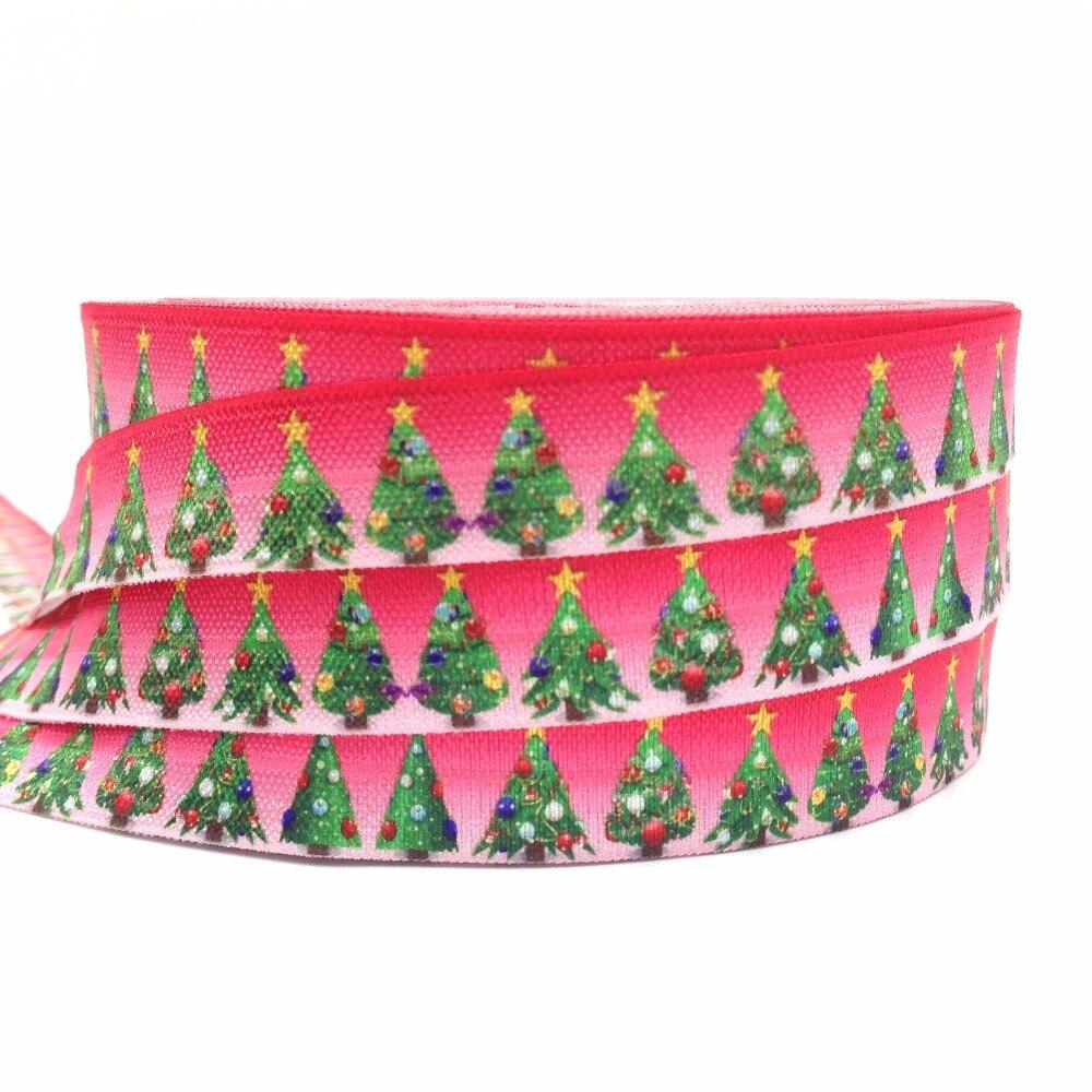 Высокое качество Chirstmas Ёлки печати Сложите более упругой 10yard/lot 5/8 Красный FOE лента для волос галстук DIY головной убор аксессуар для волос