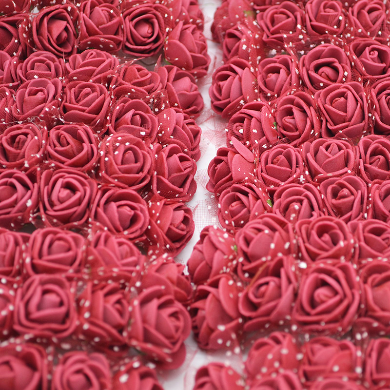 72/144pcs 2cm Colorful Mini Pe Foam Rose Heads Artificial Silk Flowers for Wedding Decoration DIY Headdress Bride Bouquet Roses