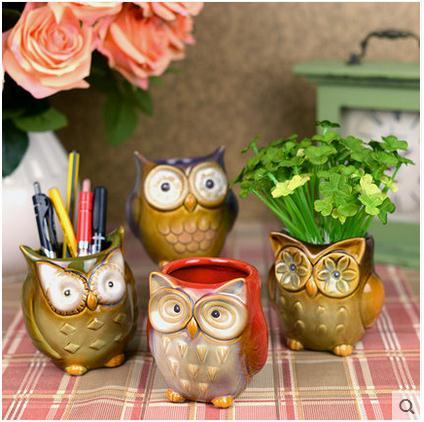 Coruja Ceramica Owl Food Container Spice Jar Kitchen Storage Jar Home Decor Owl Pot Flower Vase