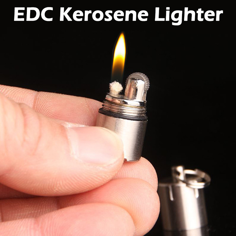 EDC Outdoor Compact Kerosene Lighter Super Mini Key Chain Capsule Gasoline Lighter Inflated Keychain Petrol Lighter Dropshipping