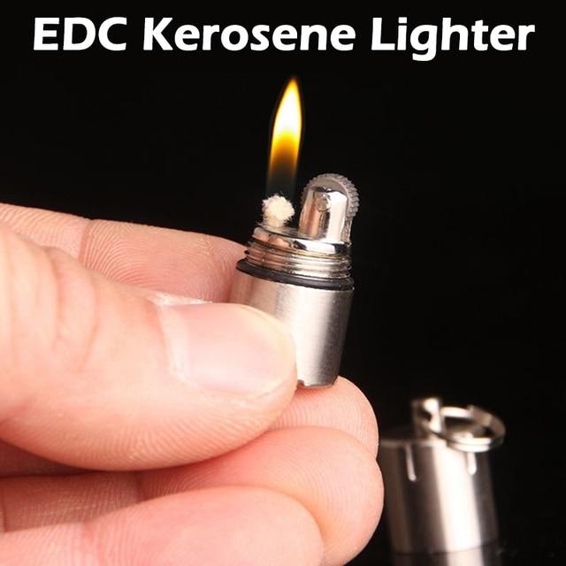 EDC наружная компактная керосиновая Зажигалка супер мини-брелок на цепочке капсула бензиновая Зажигалка надувной брелок бензиновая Зажигалка дропшиппинг