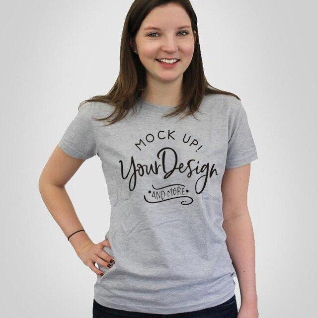 869e050fd089 WT0073 Women Cotton O-neck Casaul Tops Mockup T shirt Bella Canvas Unisex T- shirt