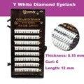 O Envio gratuito de Melhor Qualidade do Diamante Pestana Extensão New Professional Y Pestana Extensão Com Diamante Branco De 12mm de comprimento