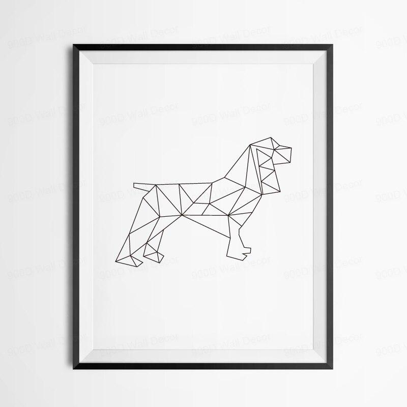 buy geometric dog canvas art print poster. Black Bedroom Furniture Sets. Home Design Ideas