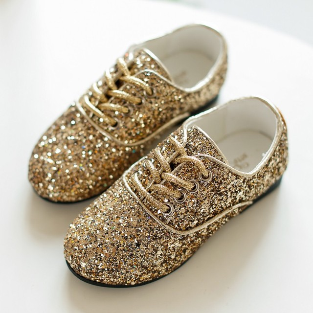 Korean kids shoes for girl flats gold black lace up casual