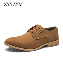 купить ZYYZYM Men Dress Shoes Leather Lace-Up Style Men Shoes New Plus Size EUR 38-48 Men Wedding Shoes Formal Shoes Men дешево
