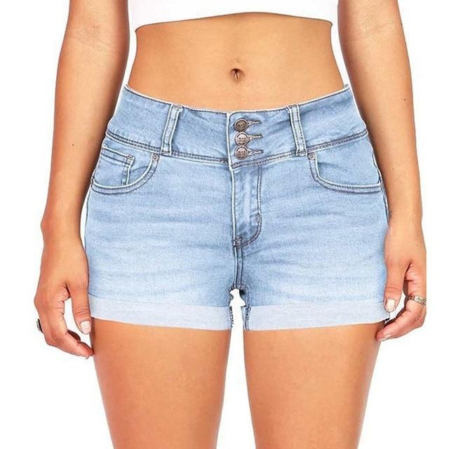 High-Waist Jean Button Zipper Women's Denim Shorts Scratched Pocket Design Shorts Femme Short Mujer Pantalones Cortos Mujer 2
