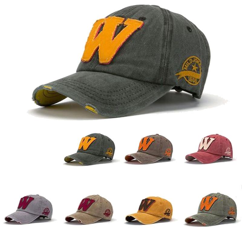 Korean Fashion Letters W Baseball Cap Vintage Denim Casquette Gorras Planas Summer Sun Hats for Men and Women fashion solid color baseball cap for men and women