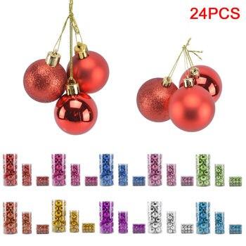 feed82c0d62 24x Mini Navidad adornos bolas árbol decoraciones colgantes 4 cm Navidad  decoración ornamento