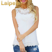 Laipelar Fashion Women Lace Blouses O-neck Shirts Solid Color Slim Type Blouse Plus Size Summer Sleeveless Tops Shirt